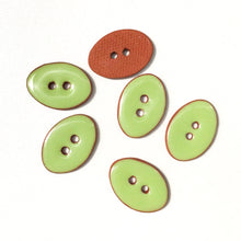 "Load image into Gallery viewer, Lime Green Oval Clay Buttons - 5/8"" x 7/8"" - 6 Pack"