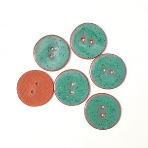 Speckled Turquoise Ceramic Buttons on Terracotta Clay - 1 1/16""