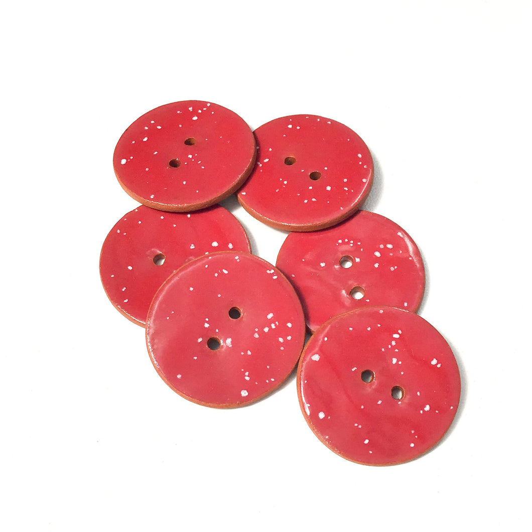 Speckled Red Ceramic Buttons on Terracotta Clay - 1 1/16
