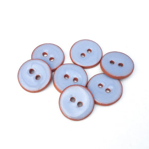 "Periwinkle Blue Ceramic Buttons - Clay Buttons - 5/8"" - 7 Pack"