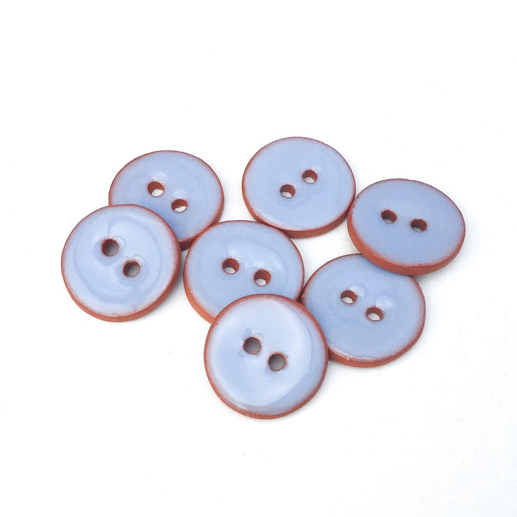 Periwinkle Blue Ceramic Buttons - Clay Buttons - 5/8