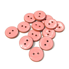 Load image into Gallery viewer, Salmon Pink Ceramic Buttons - Clay Buttons - 3/4""