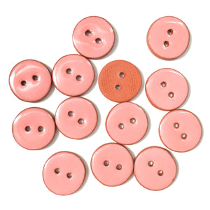Salmon Pink Ceramic Buttons - Clay Buttons - 3/4""
