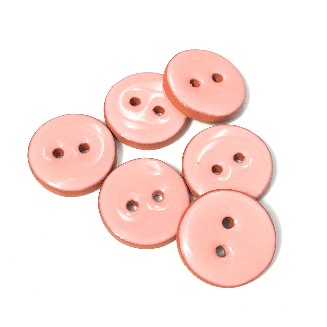 Light Salmon Pink Ceramic Buttons - Clay Buttons - 3/4