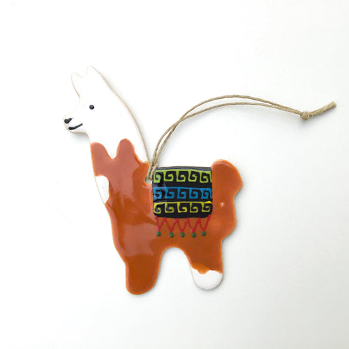 Llama Ornament - Hand Painted Ceramic Llama ornament - White + Brown