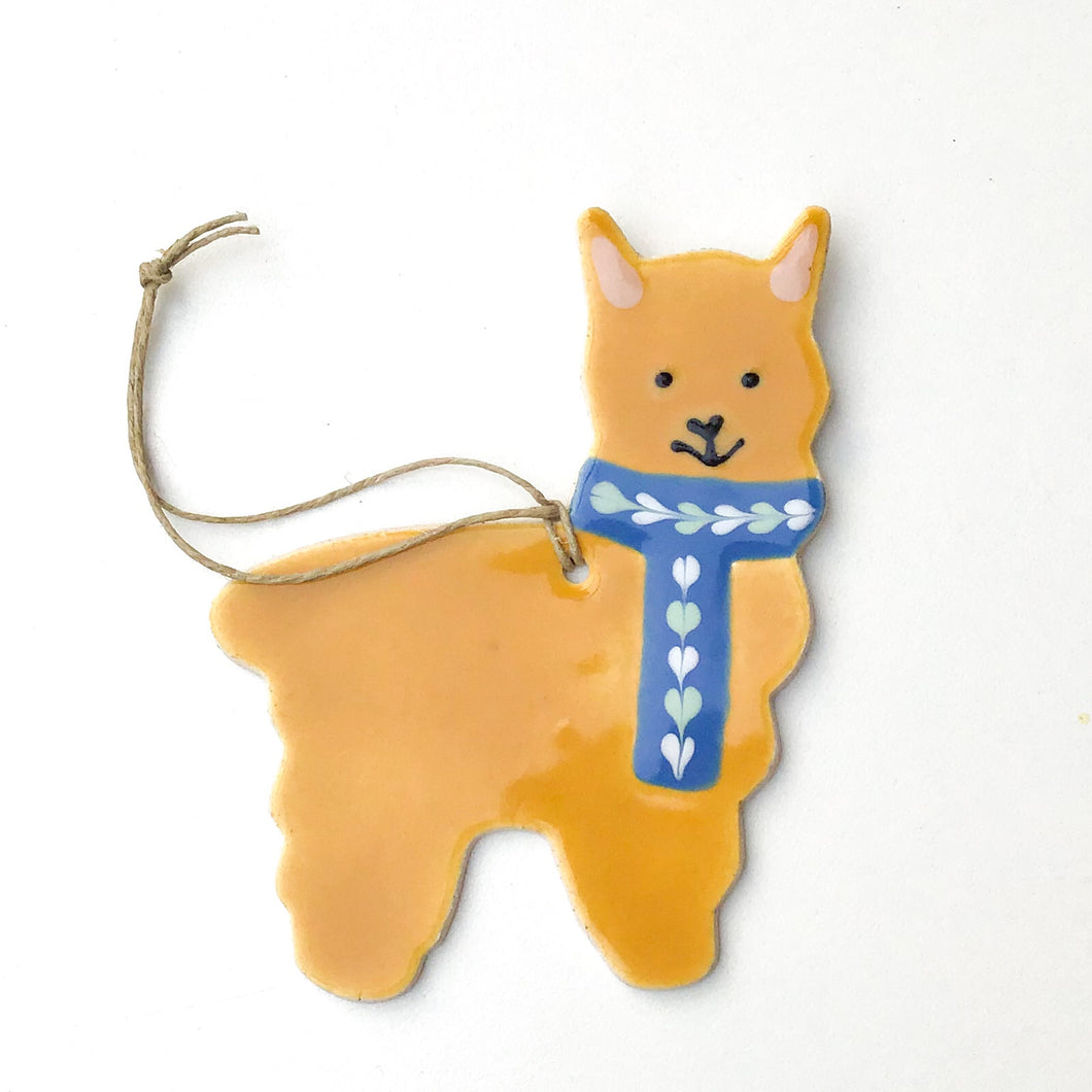 Alpaca Ornament - Hand Painted Ceramic Alpaca Ornament - Fawn