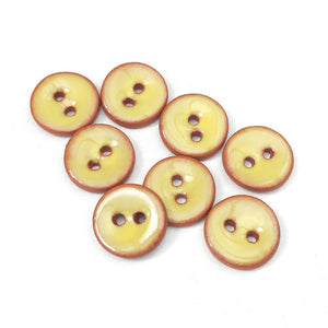 "Yellow Ceramic Buttons - Clay Buttons - 7/16"" - 8 Pack"