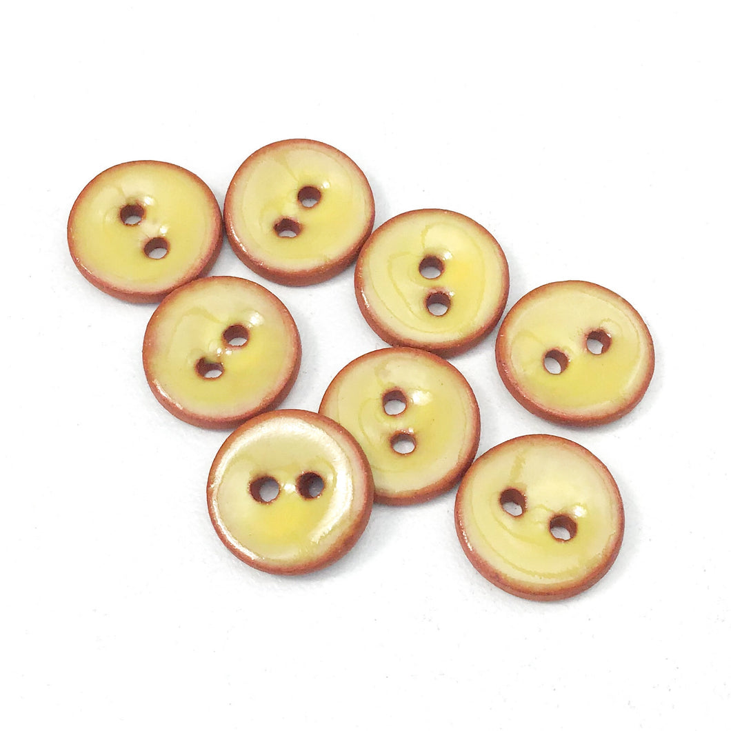 Yellow Ceramic Buttons - Clay Buttons - 7/16