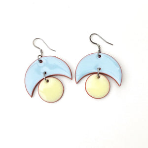 Large Crescent and Circle Earrings: Ceramic Earrings in Sky Blue and Soft Yellow
