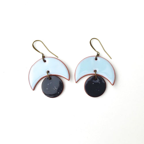 Large Crescent and Circle Earrings: Ceramic Earrings in Sky Blue and Black