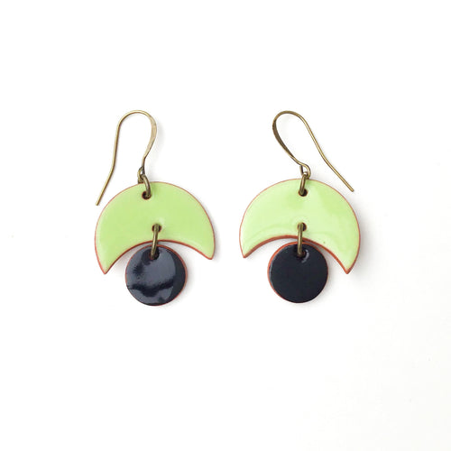 Small Crescent and Circle Earrings: Ceramic Earrings in Lime Green and Black