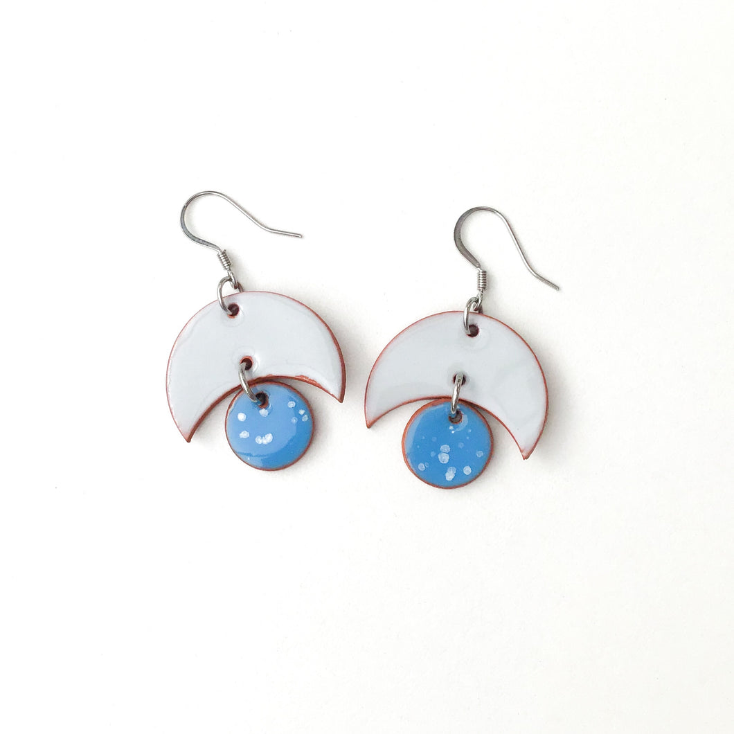 Small Crescent and Circle Earrings: Ceramic Earrings in Gray and Bright Speckled Blue