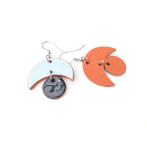 Small Crescent and Circle Earrings: Ceramic Earrings in Sky Blue and Black