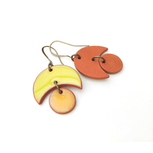 Small Crescent and Circle Earrings: Ceramic Earrings in Chartreuse and Orange