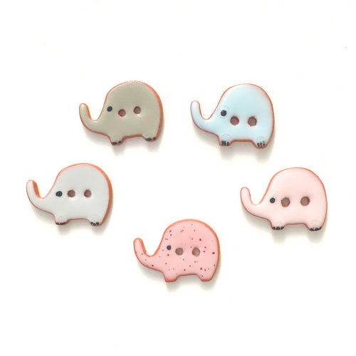 Elephant Buttons - Ceramic Elephant Buttons -Children's Animal Buttons (ws-84)