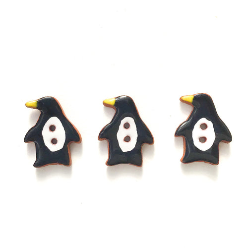 Penguin Buttons - Ceramic Penguin Buttons - Children's Animal Buttons (ws-159)