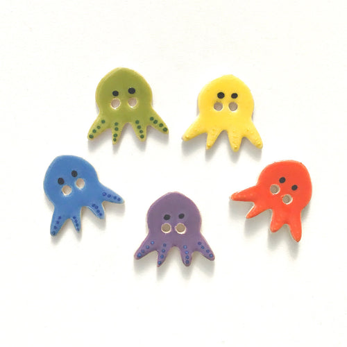 'Vivid' Octopus Buttons - Ceramic Buttons -Children's Animal Buttons (ws-2)