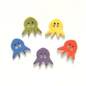 'Vivid' Octopus Buttons - Ceramic Ceramic Buttons -Children's Animal Buttons