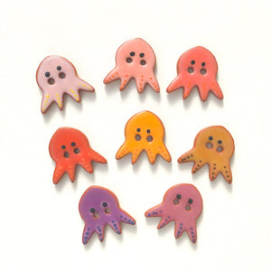 'Earth Tones' Octopus Buttons - Ceramic Ceramic Buttons -Children's Animal Buttons