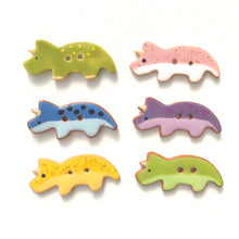 Load image into Gallery viewer, Tricerotops Buttons - Ceramic Dinosaur Buttons - Children's Animal Buttons