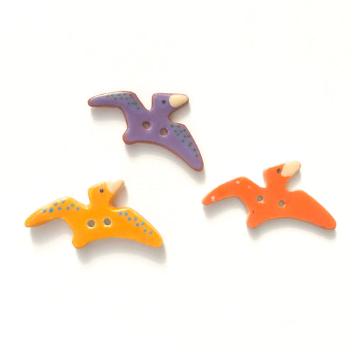 Pterodactyl Buttons - Ceramic Dinosaur Buttons - Children's Animal Buttons (ws-163)