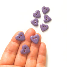 "Load image into Gallery viewer, Purple Heart Buttons - Ceramic Heart Buttons - 5/8"" - 8 Pack"