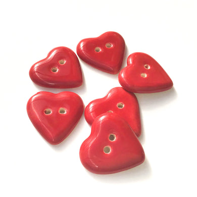 Deep Red Heart Buttons - Ceramic Heart Buttons - 7/8
