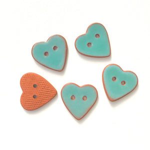 Turquoise Heart Buttons - Ceramic Heart Buttons - 7/8""