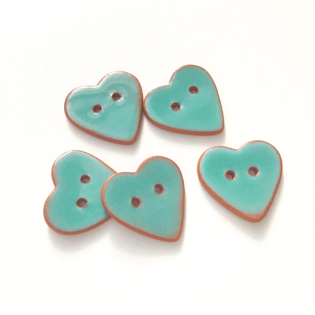 Turquoise Heart Buttons - Ceramic Heart Buttons - 7/8