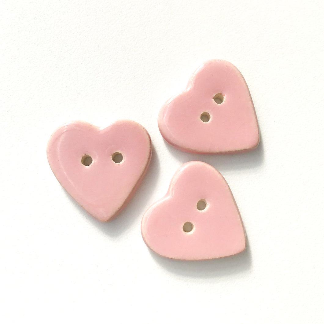Soft Pink Heart Buttons - Ceramic Heart Buttons - 7/8