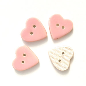 Soft Pink Heart Buttons - Ceramic Heart Buttons - 7/8""