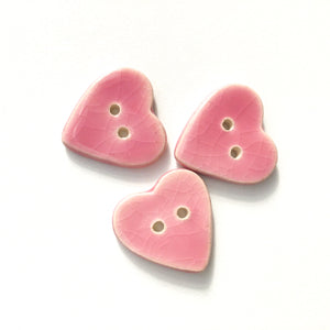 "Crackle Pink Heart Buttons - Ceramic Heart Buttons - 7/8"" (ws-58)"