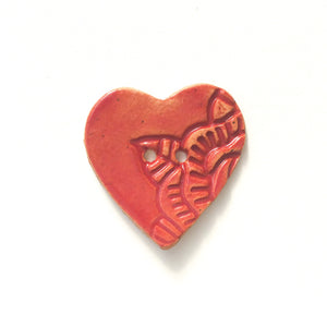 Large Stamped Heart Buttons - Ceramic Heart Button - Red Heart - 1 3/8""