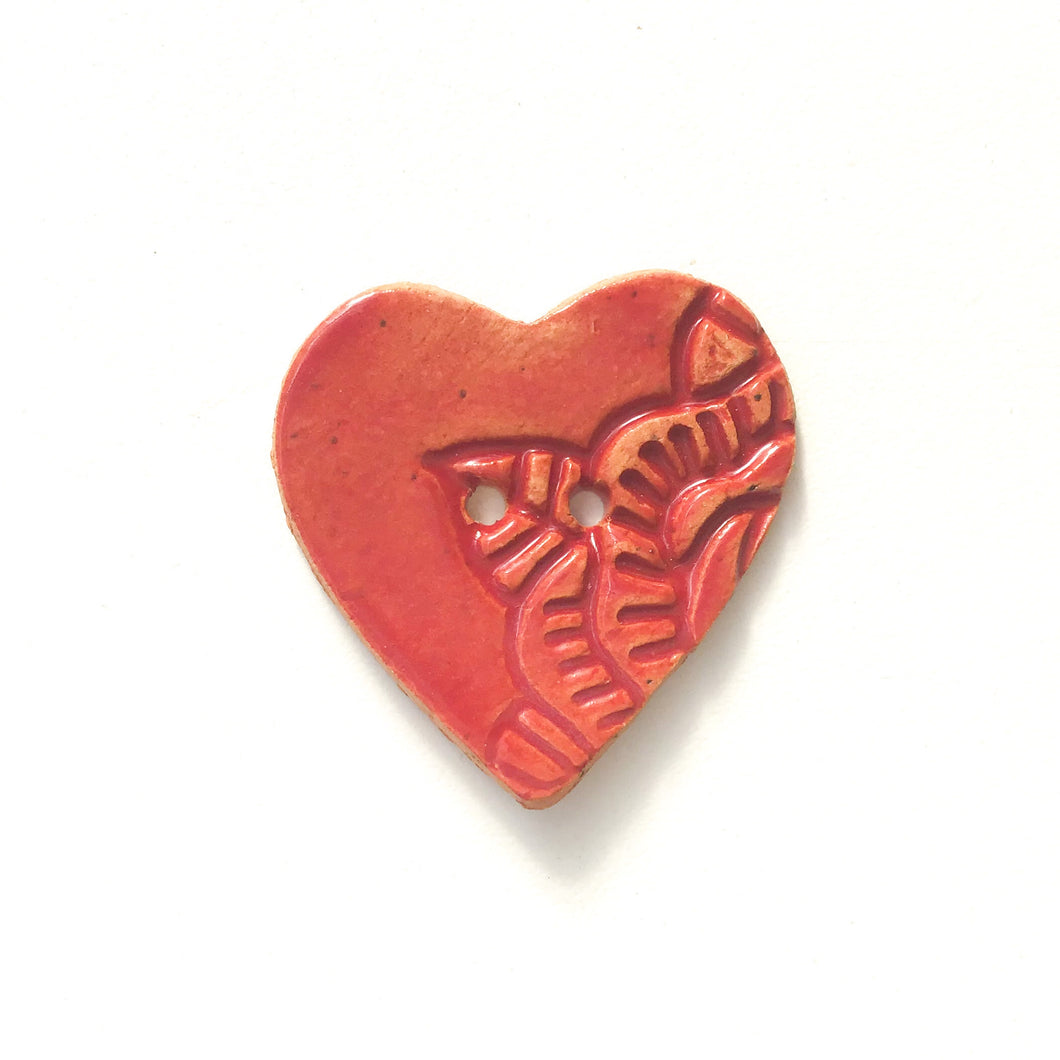 Large Stamped Heart Buttons - Ceramic Heart Button - Red Heart - 1 3/8
