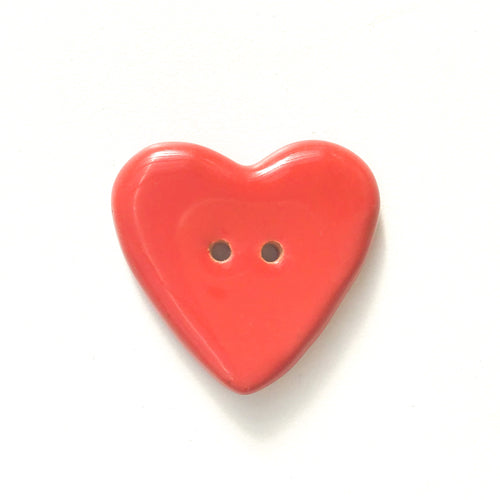 Chunky Red Heart Button - Ceramic Heart Button