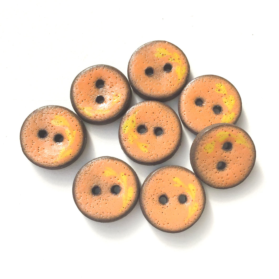 Orange Ceramic Buttons with Yellow Floral Detail - 3/4