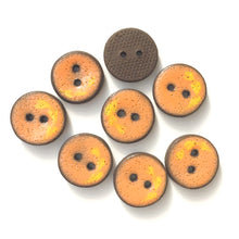 "Load image into Gallery viewer, Orange Ceramic Buttons with Yellow Floral Detail - 3/4"" - 8 Pack"