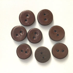"Brown Ceramic Buttons on Black Clay - 3/4"" - 8 Pack"