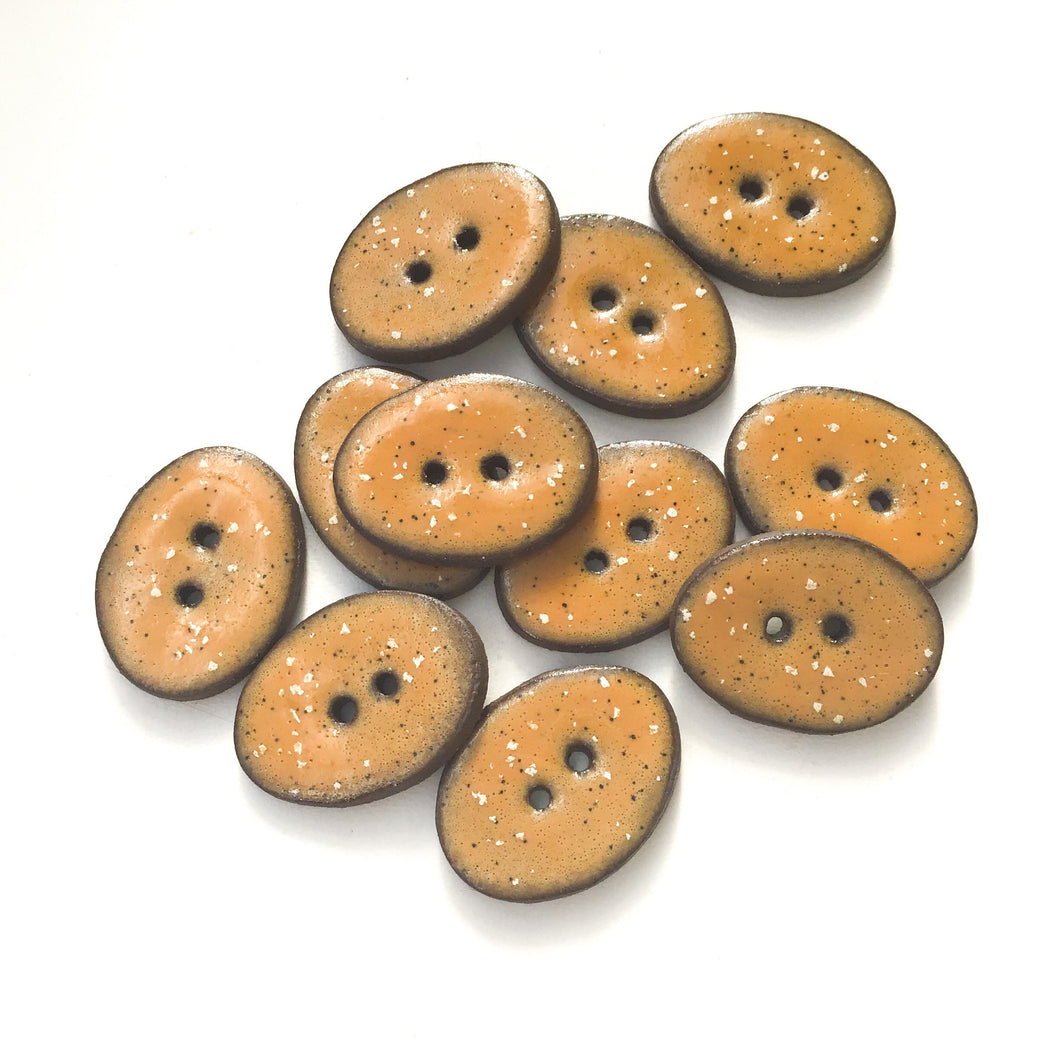 Speckled Camel Brown Ceramic Buttons - Oval Clay Buttons - 3/4