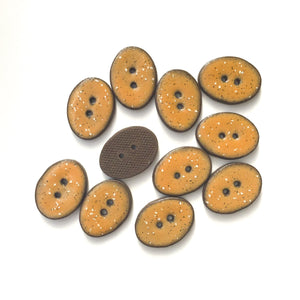 "Speckled Camel Brown Ceramic Buttons - Oval Clay Buttons - 3/4"" x 1"""