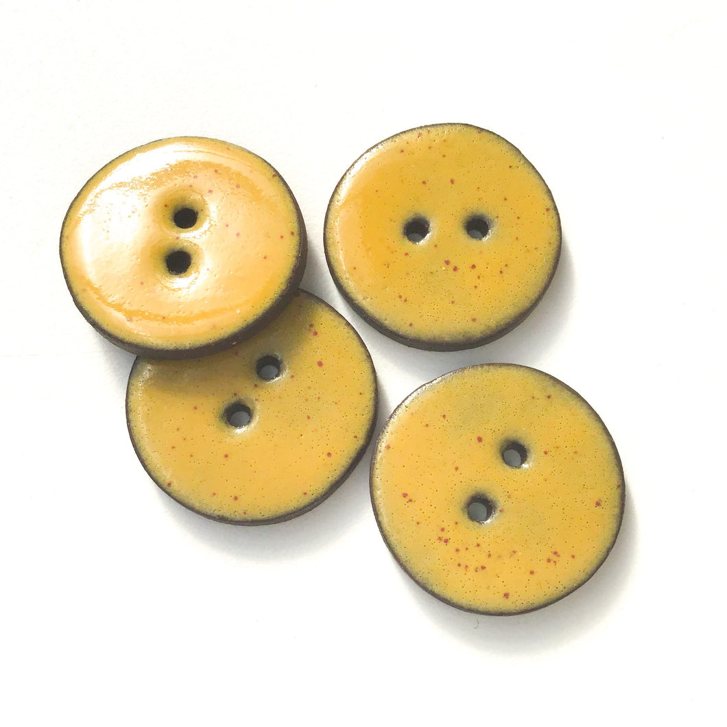 Speckled Mustard Brown Ceramic Buttons on Black Clay - 1 1/16