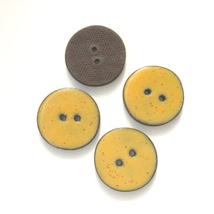 Speckled Mustard Brown Ceramic Buttons on Black Clay - 1 1/16""