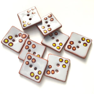 "Polka Dot Square Buttons in Warm Shades - Gray - Salmon - Brown - Chartreuse - 1"" Square"