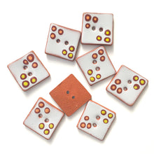 "Load image into Gallery viewer, Polka Dot Square Buttons in Warm Shades - Gray - Salmon - Brown - Chartreuse - 1"" Square"