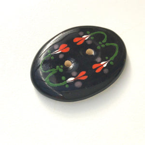 "Vintage Design Flower Button - Ceramic Flower Button - 1"" x 1 3/8"""