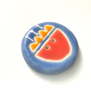 Quilted Flower Button - Salmon & Orange on Blue Background - 1 1/2""