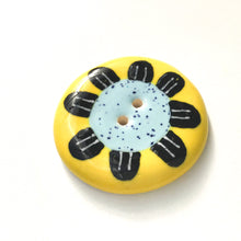 Load image into Gallery viewer, Playful Flower Button -Blue & Black on Yellow Background - 1 1/2""