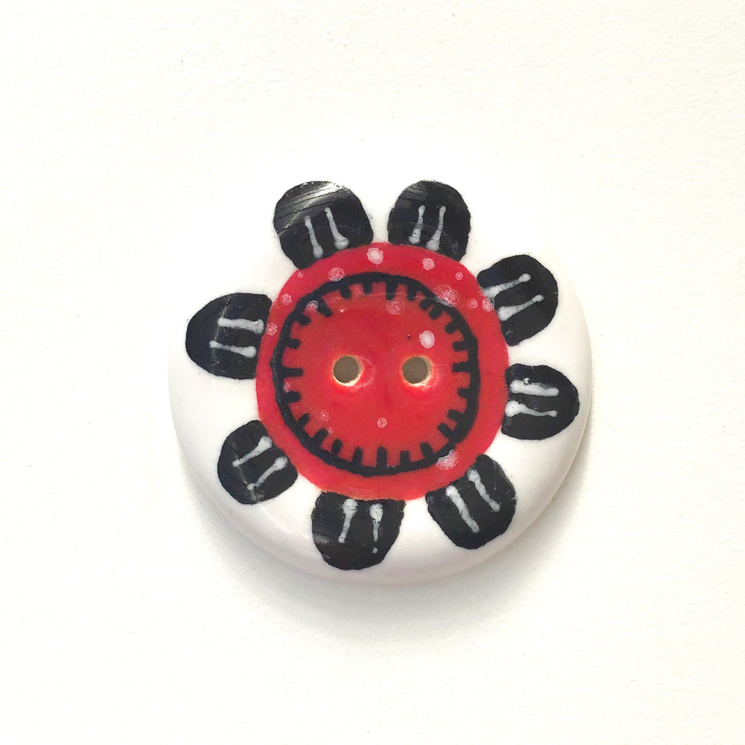 Playful Flower Button -Red & Black on White Background - 1 1/2