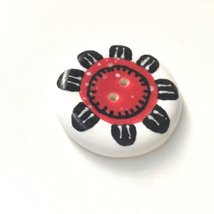 Playful Flower Button -Red & Black on White Background - 1 1/2""