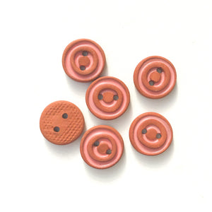 "Pink Concentric Circle Ceramic Buttons - Terracotta Clay Buttons - 1/2"" - 6 Pack"